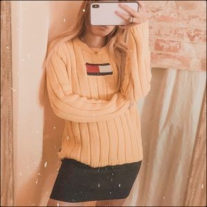 Tommy Hilfiger flag vintage yellow knit sweater